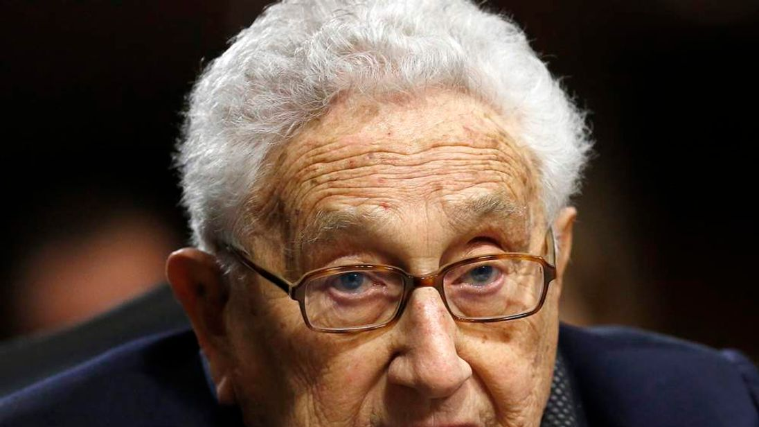 Former US Secretary of State Kissinger  testifies at Senate Armed Services hearings in Washington