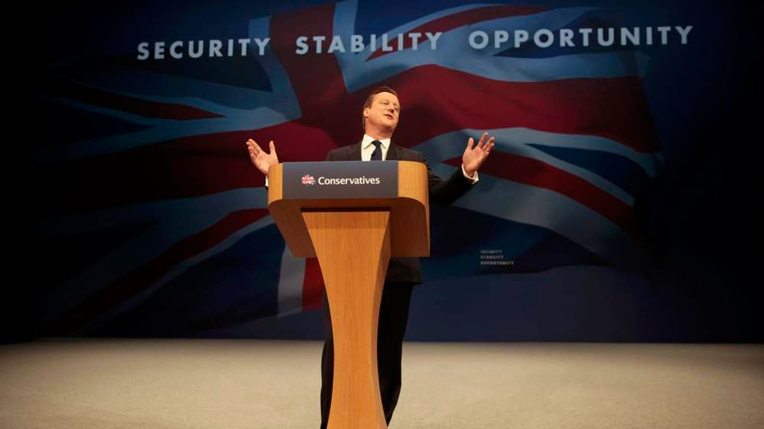 Britain's Prime Minister David Cameron delivers his keynote address at the annual Conservative Party Conference in Manchester