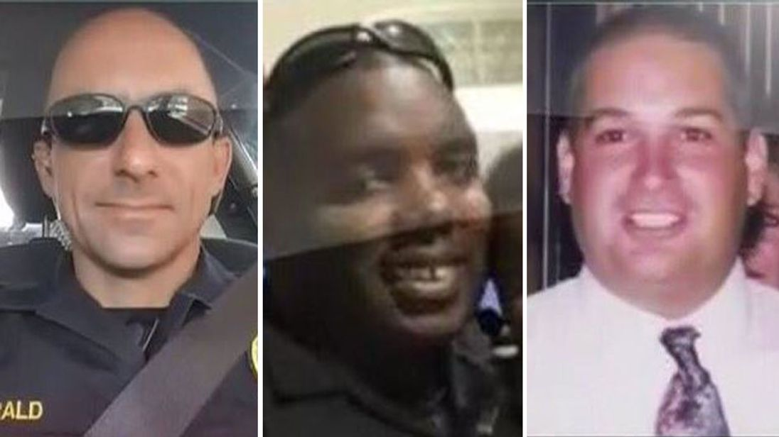 L-R: Police officers Matthew Gerald, Montrell Jackson and Brad Garafola
