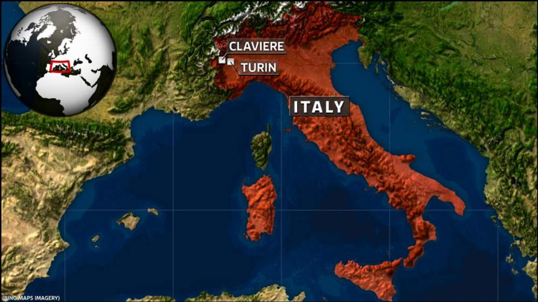 A map of Italy.
