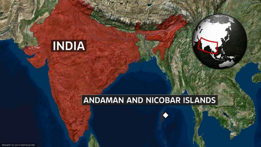 A map showing the location of the Andaman and Nicobar Islands