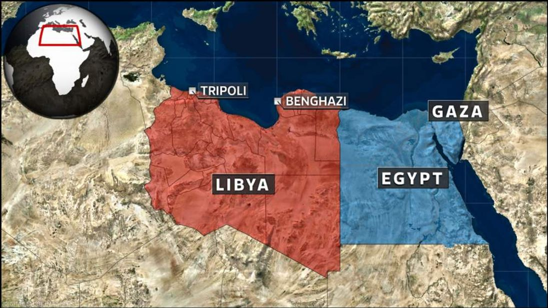 Map shows Libya and Egypt