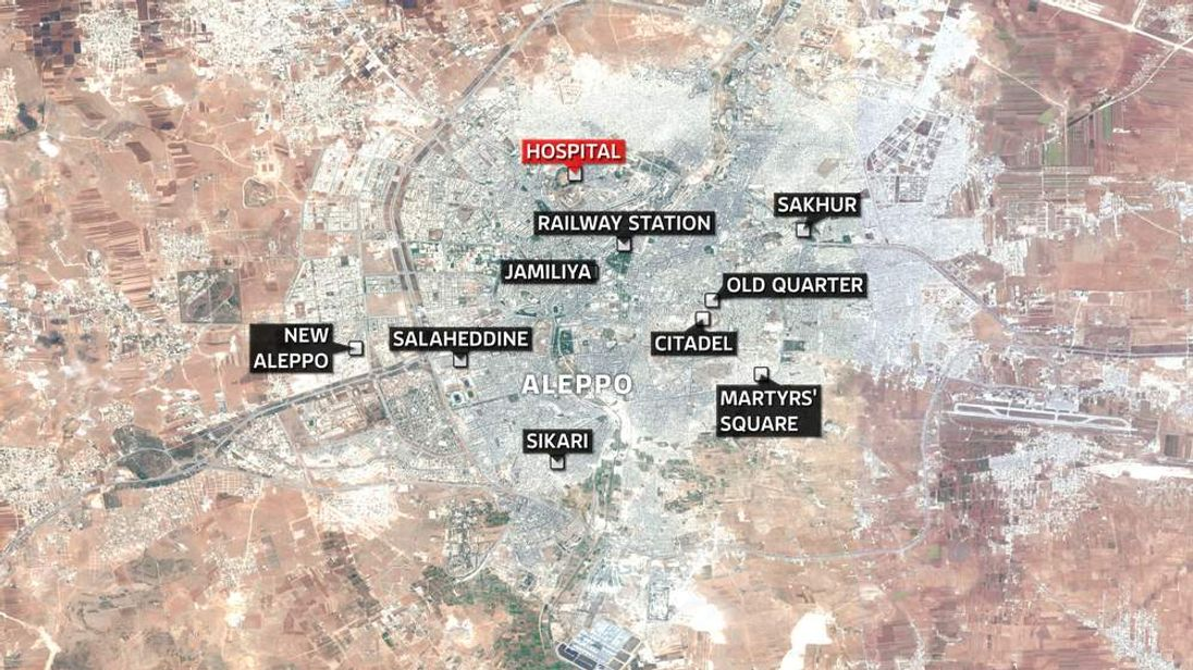 Map of Aleppo in Syria
