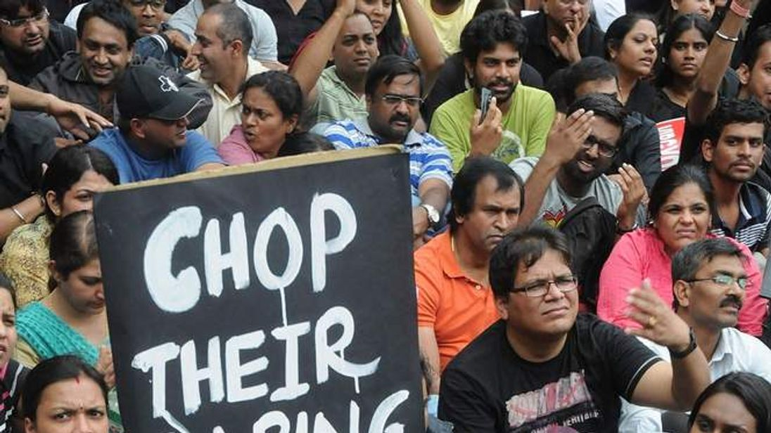 Demonstrations in India after six-year-old allegedly assaulted.