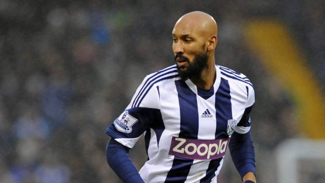 West Bromwich Albion's French striker Nicolas Anelka wearing a Zoopla-sponsored shirt