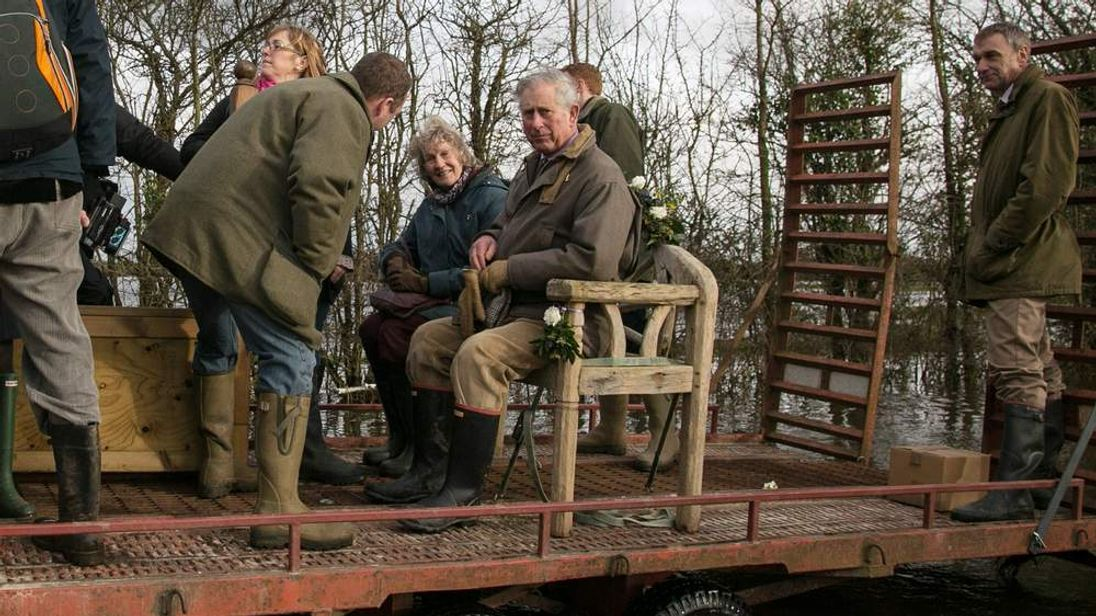 Prince Charles visits flood-hit communities on the Somerset Levels.