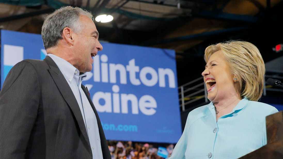 Democratic presidential candidate Hillary Clinton on stage with Tim Kaine