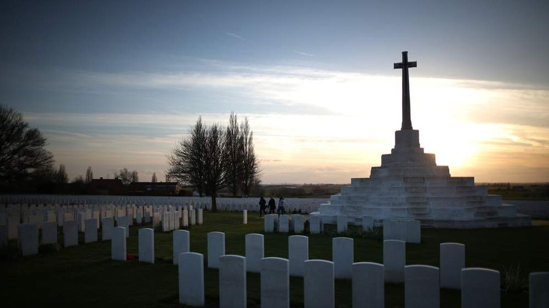 Gravestones at the Tyne Cot World War One cemetery in Belgium