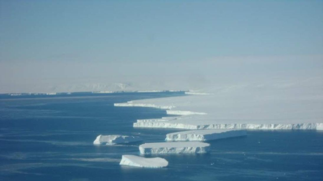 Icebergs are seen calving from the Dotson Ice Shelf during a successful mission there on Nov. 6. Weather conditions were favorable over the ice-covered regions. Credit: Jim Yungel.