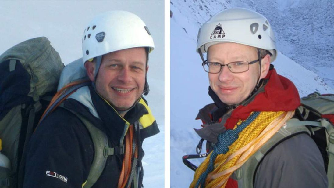 Composite image of  Stephen Barber and John Taylor, two british climbers from York who were killed after they were caught in an avalanche on Mont Maudit whilst attempting to climb Mont Blanc.