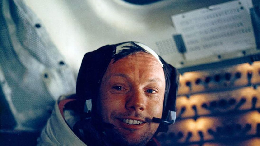 Neil Armstrong inside the lunar module which landed on the moon
