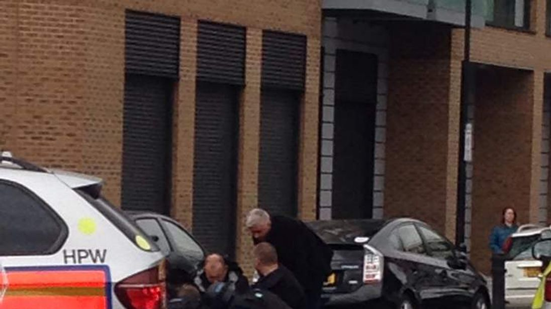 police at scene where officer shot in Hackney