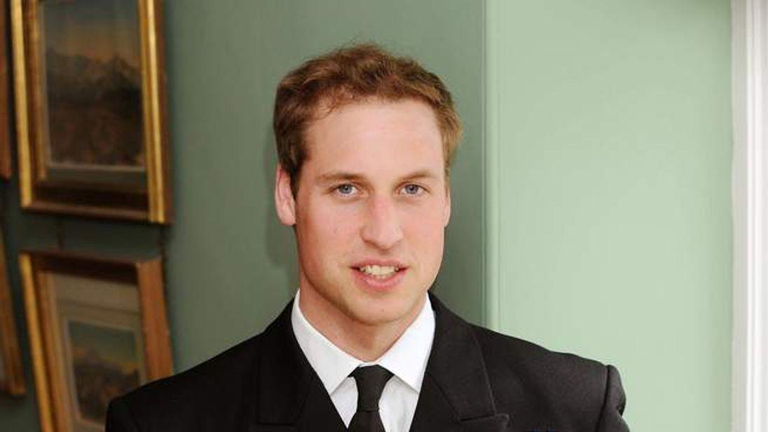Prince William in his Royal Navy uniform.