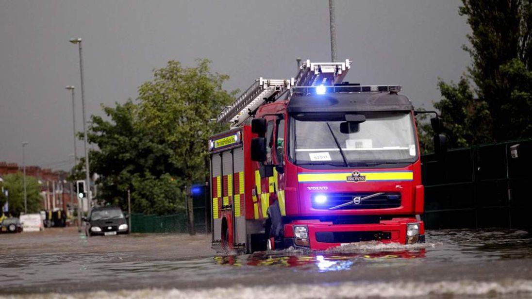 Fire Engine Caught In Belfast Floods