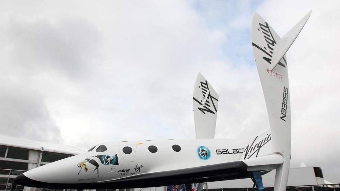 the Virgin Galactic Space craft at the Farnborough International Airshow