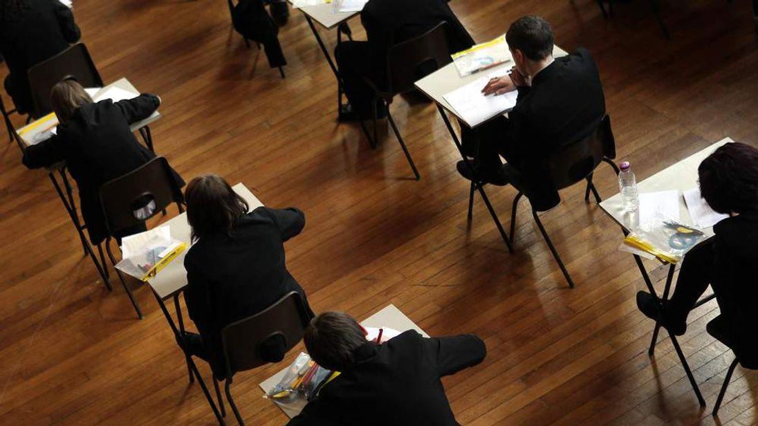 Pupils taking GCSE exams