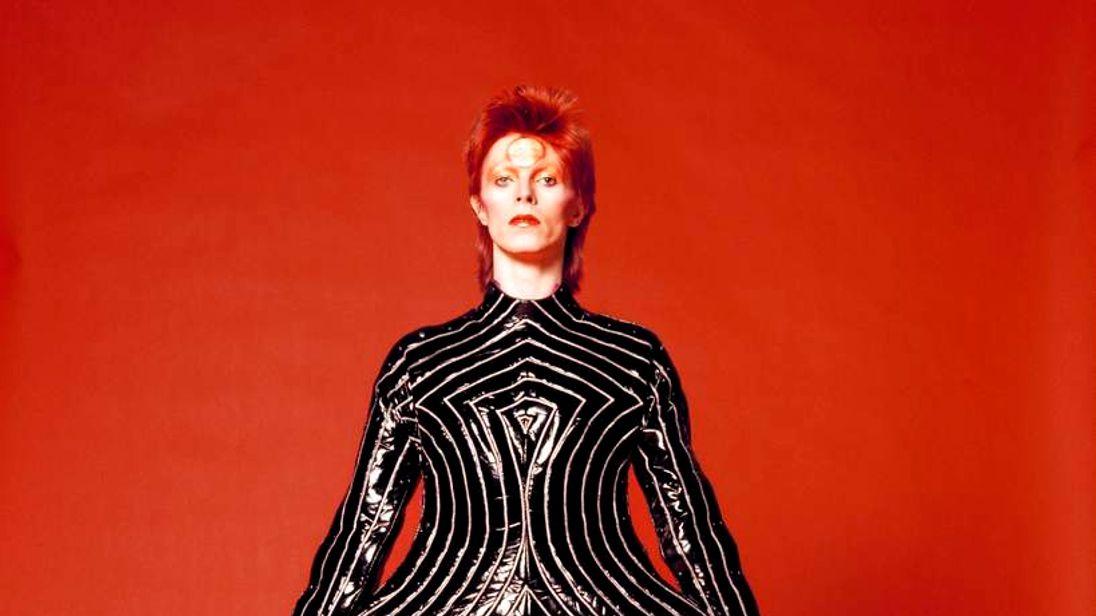 David Bowie striped bodysuit by Kansai Yamamoto for Aladdin Sane tour