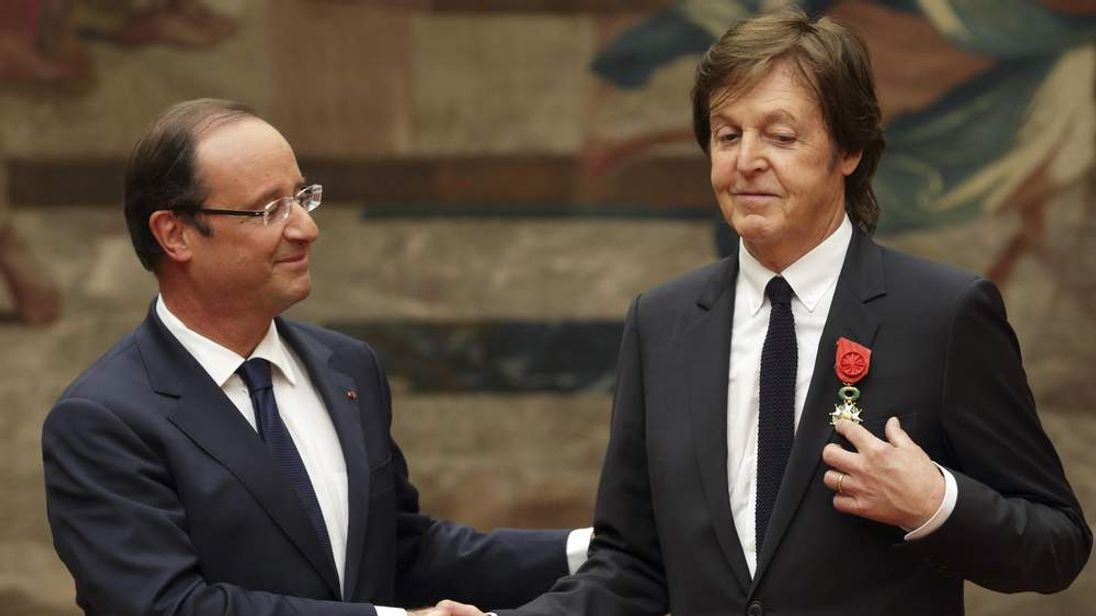 Sir Paul McCartney is awarded the Legion of Honour by French President Francois Hollande