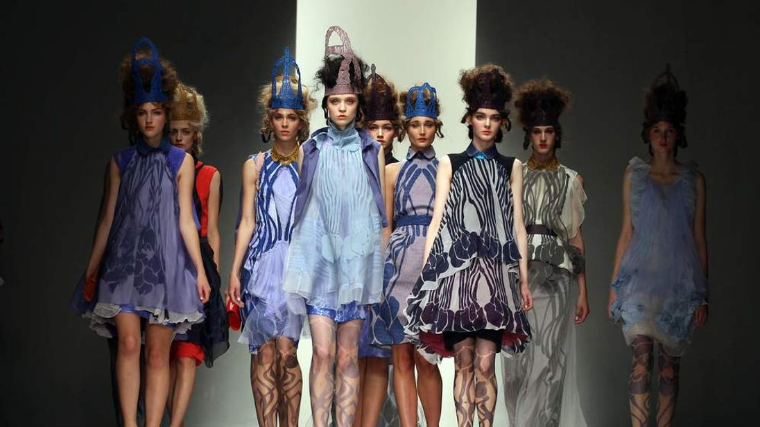 Models on the catwalk at the Bora Aksu fashion show, part of London Fashion Week, in the Courtyard Show Space