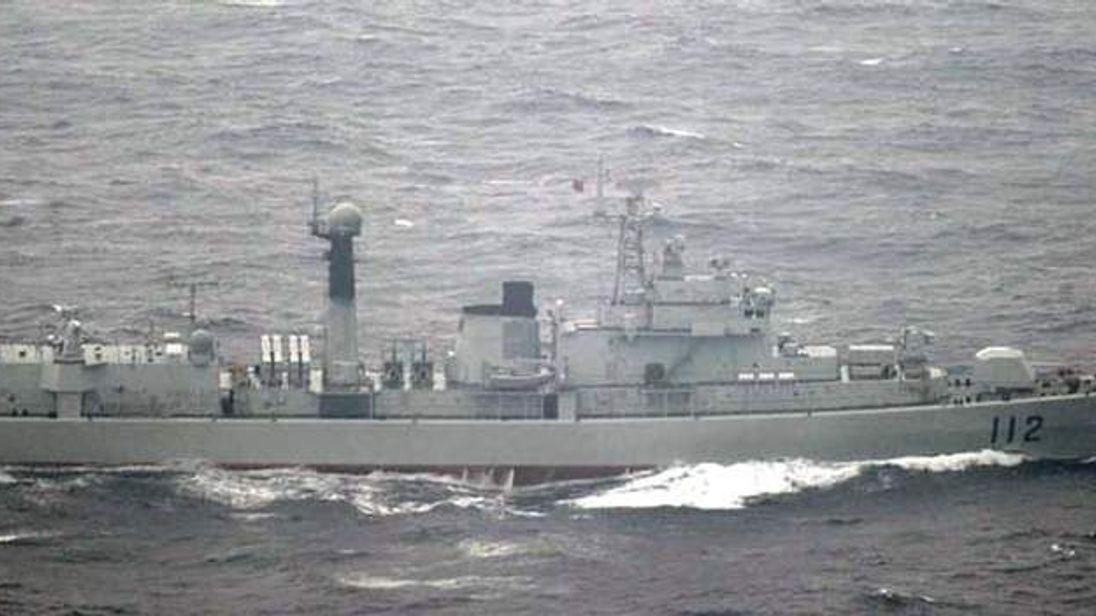 A Chinese warship sails close to Yonaguni