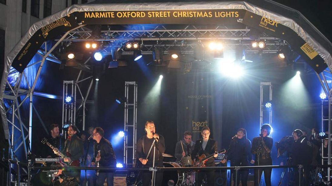 Williams performs at the Oxford Street Lights switch-on