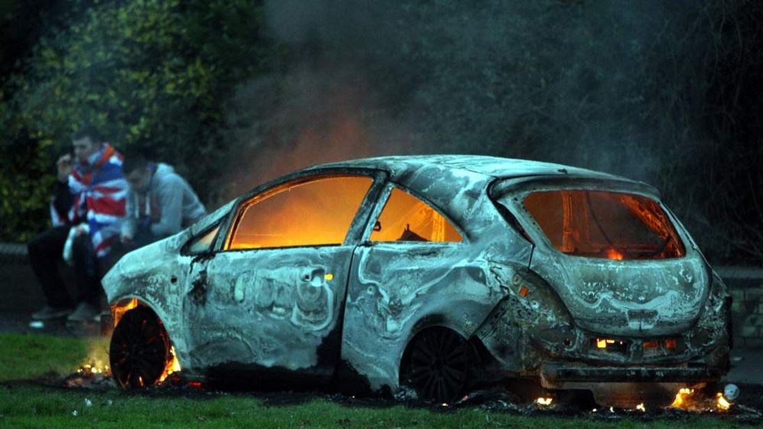 A burnt out car in Belfast