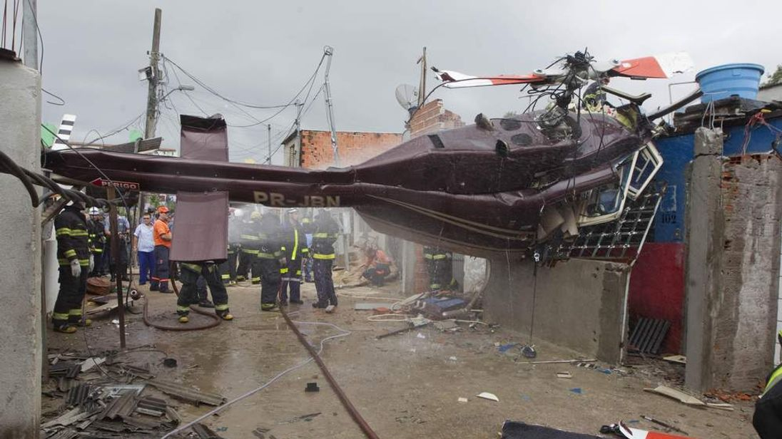 A pilot was killed after his aircraft hit a house in Sao Paulo.