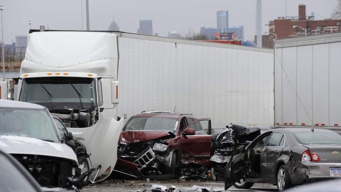 The pileup happened on I-75 in Detroit