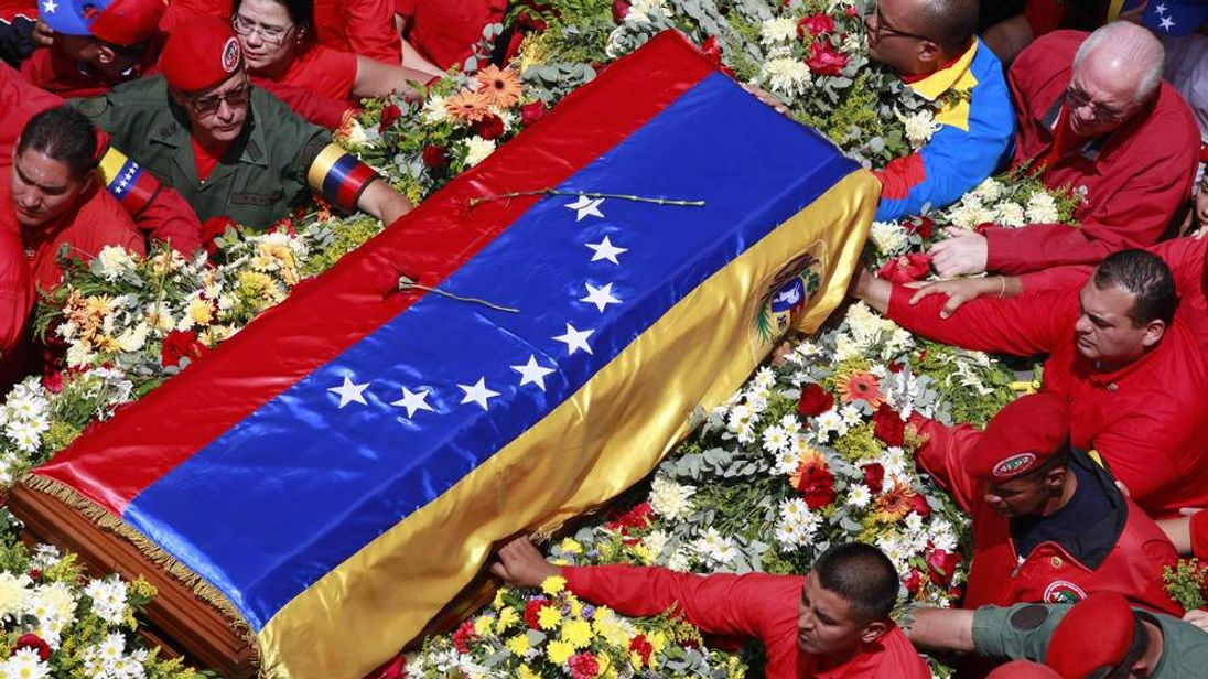 The flag-draped coffin containing the body of Venezuela's late President Hugo Chavez