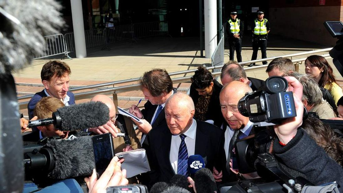 Stuart Hall outside court
