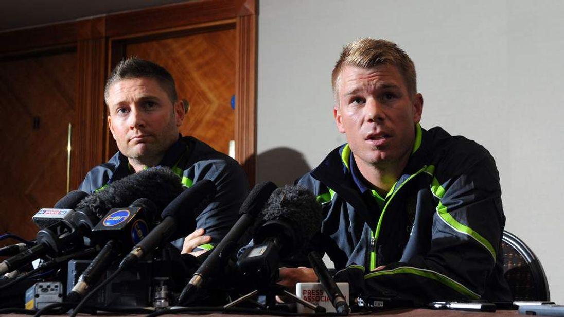 David Warner and Michael Clarke at a London press conference.