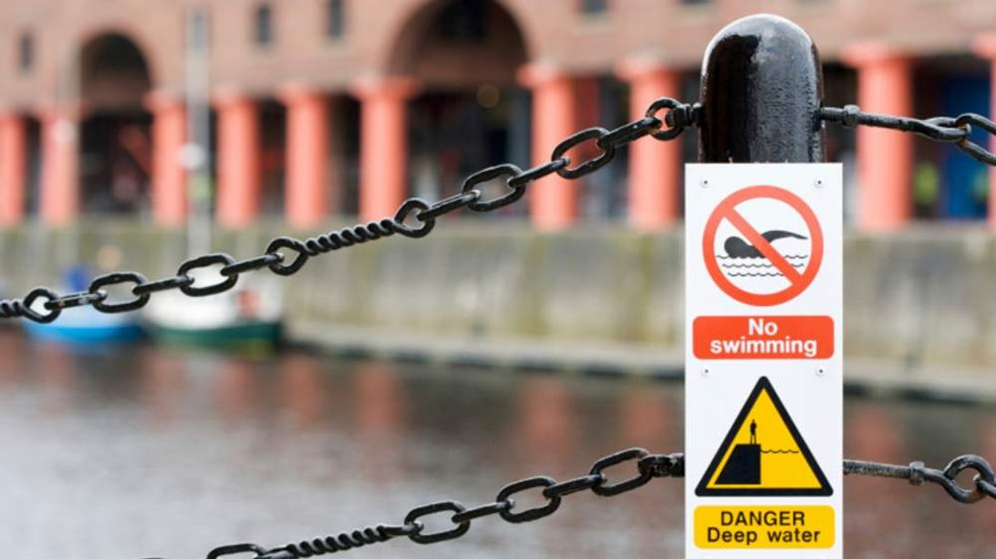 """A """"no swimming"""" sign in Liverpool"""