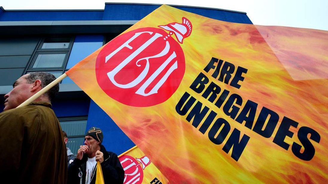 Firefighters striking in Tynemouth