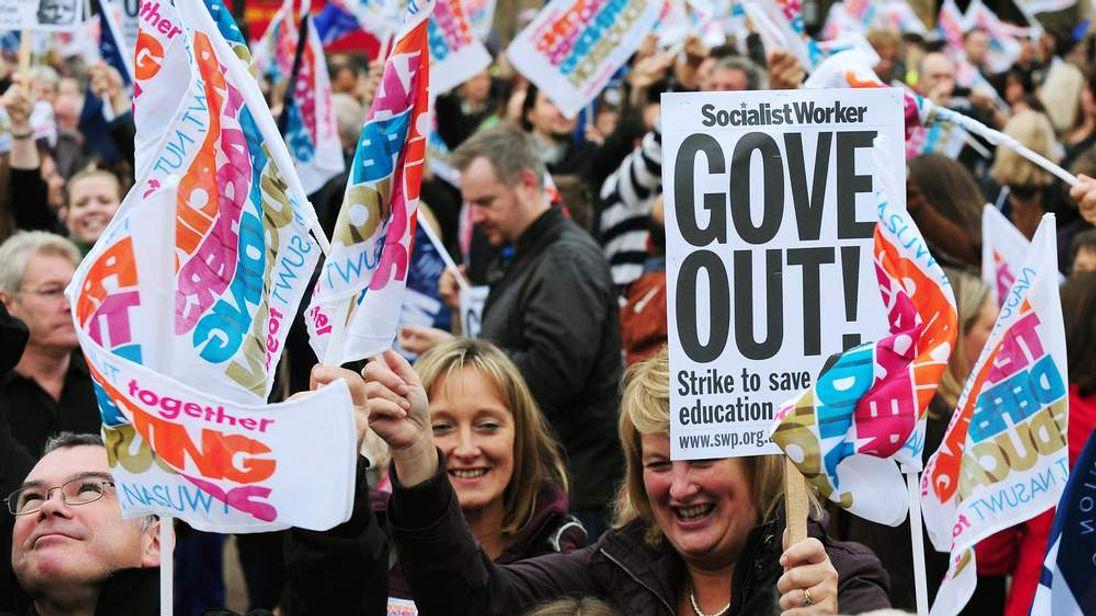 Teachers in strike action