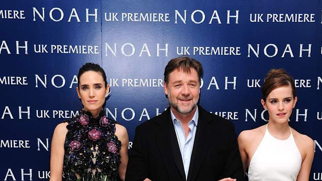 Emma Watson (right), Jennifer Connelly (left) and Russell Crowe arriving for the premiere of the film Noah