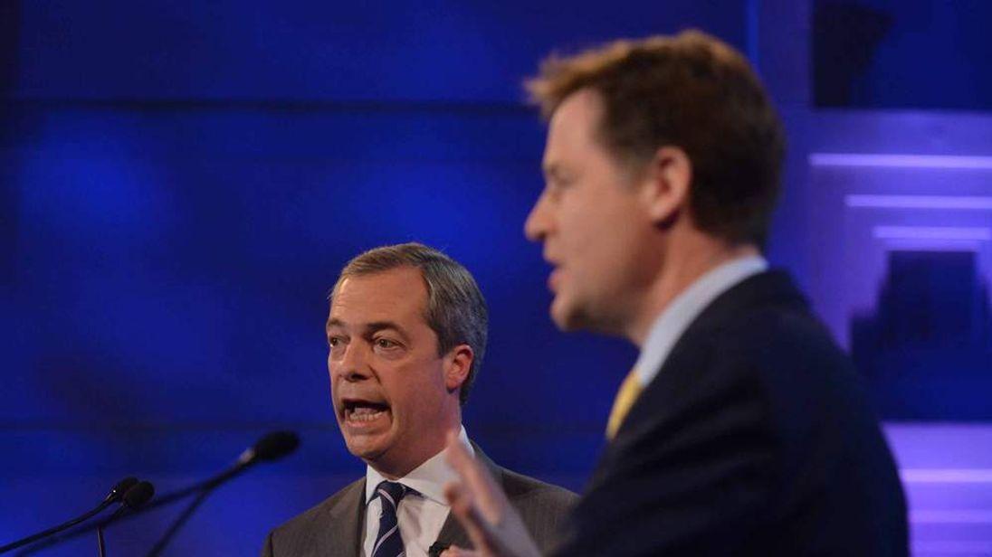 Nick Clegg and Nigel Farage in TV debate
