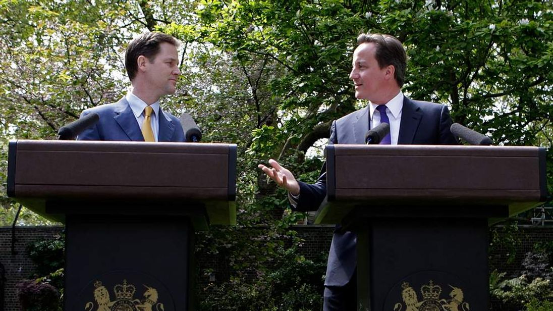 David Cameron and Nick Clegg in the Rose Garden of No10