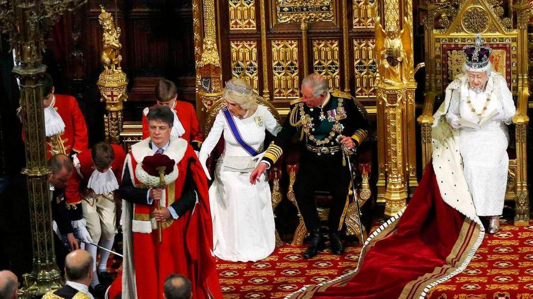 Queen Elizabeth II delivers her speech in the House of Lords