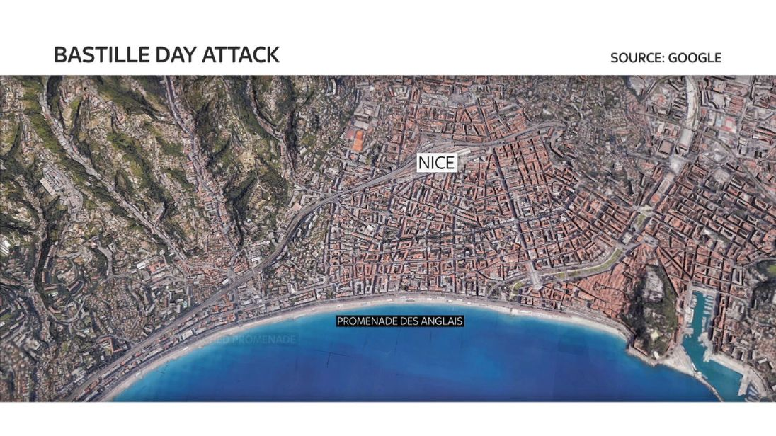 The French city of Nice, where a man drove a truck through crowds on the waterfront promenade