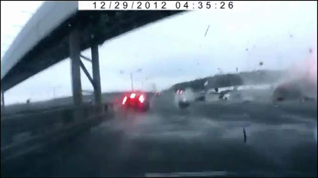 Screengrab from amateur video of plane crash in Moscow