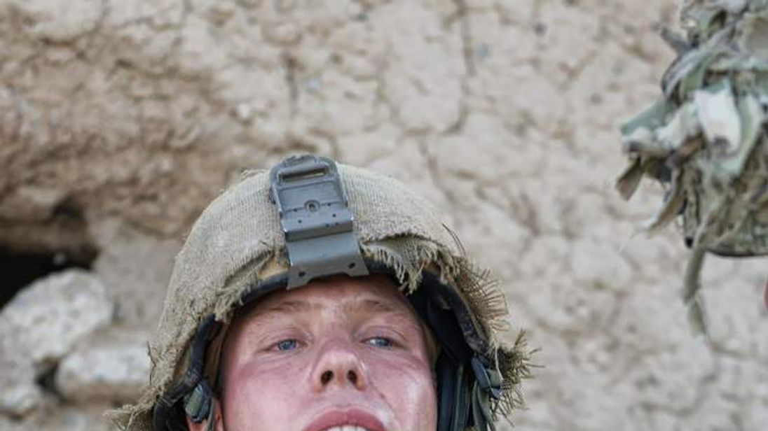 Lance Corporal Simon Moloney after being shot in the neck in Afghanistan.
