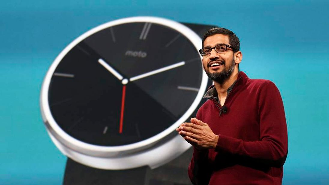 Sundar Pichai, Google's senior vice president of Android, Chrome and Apps, speaks during his keynote address at the Google I/O developers conference in San Francisco