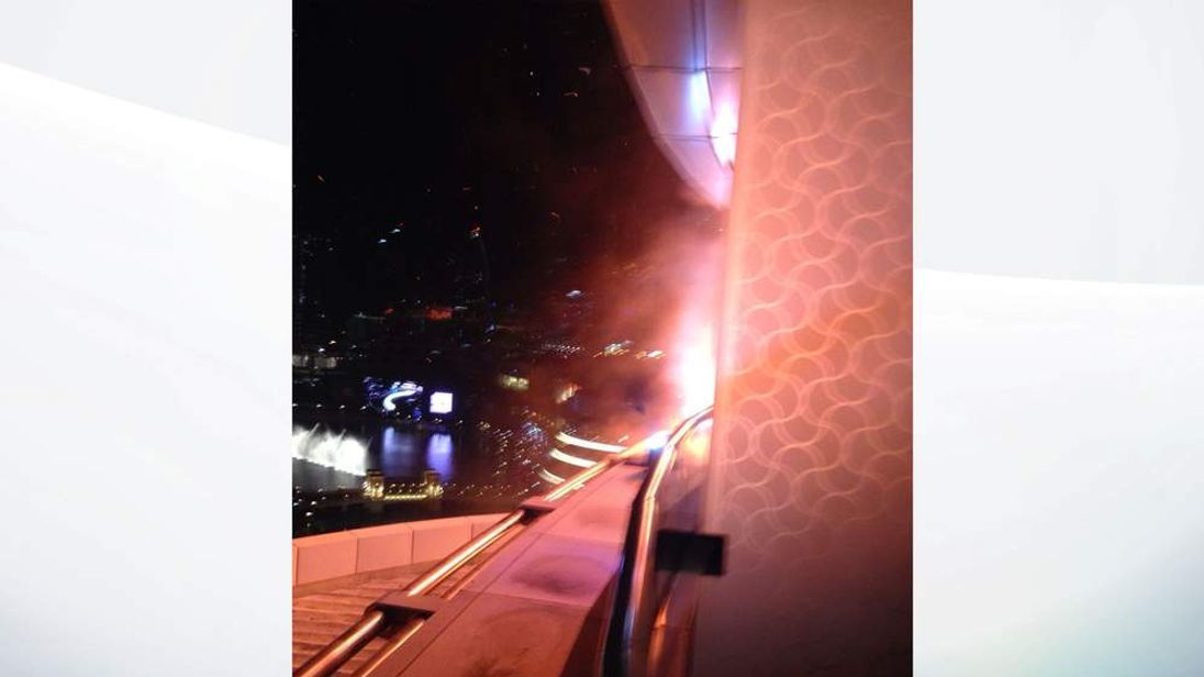 Picture From Angus Villar showing the breakout of the fire in Dubai