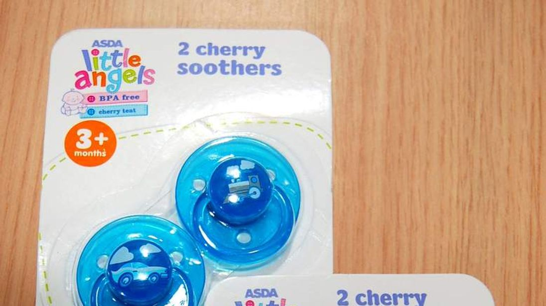 Asda dummies that have been recalled as they are a potential choking hazard
