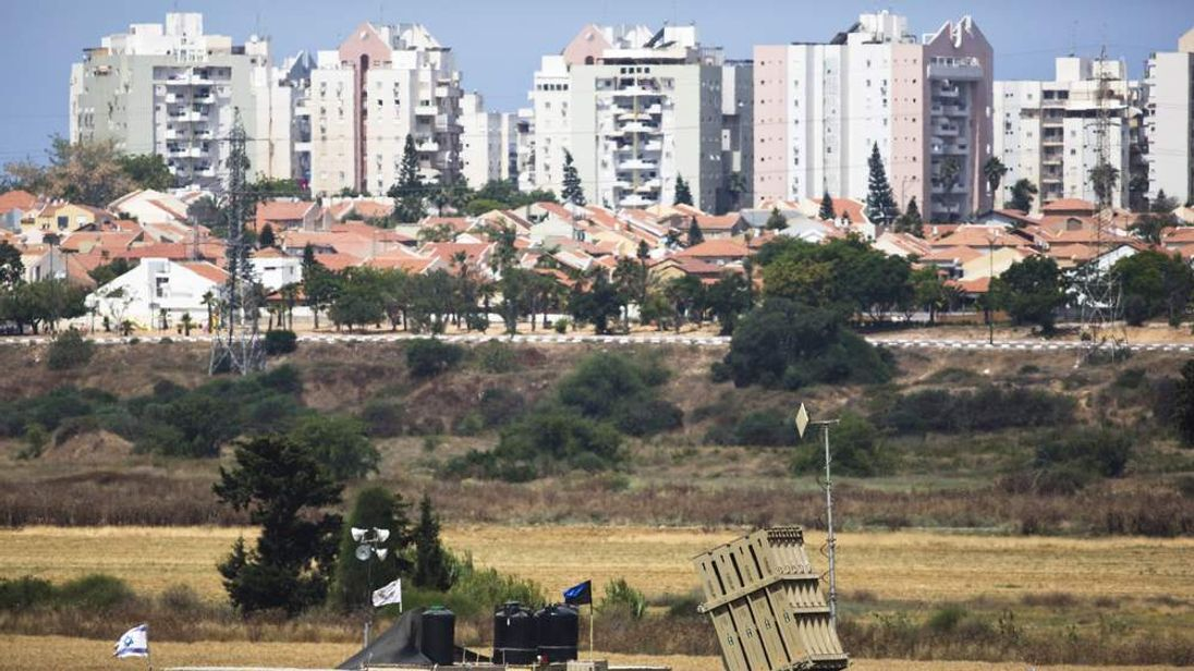 A recently located Iron Dome battary can be seen near the southern Israeli city of Ashkelon  outside the Gaza Strip