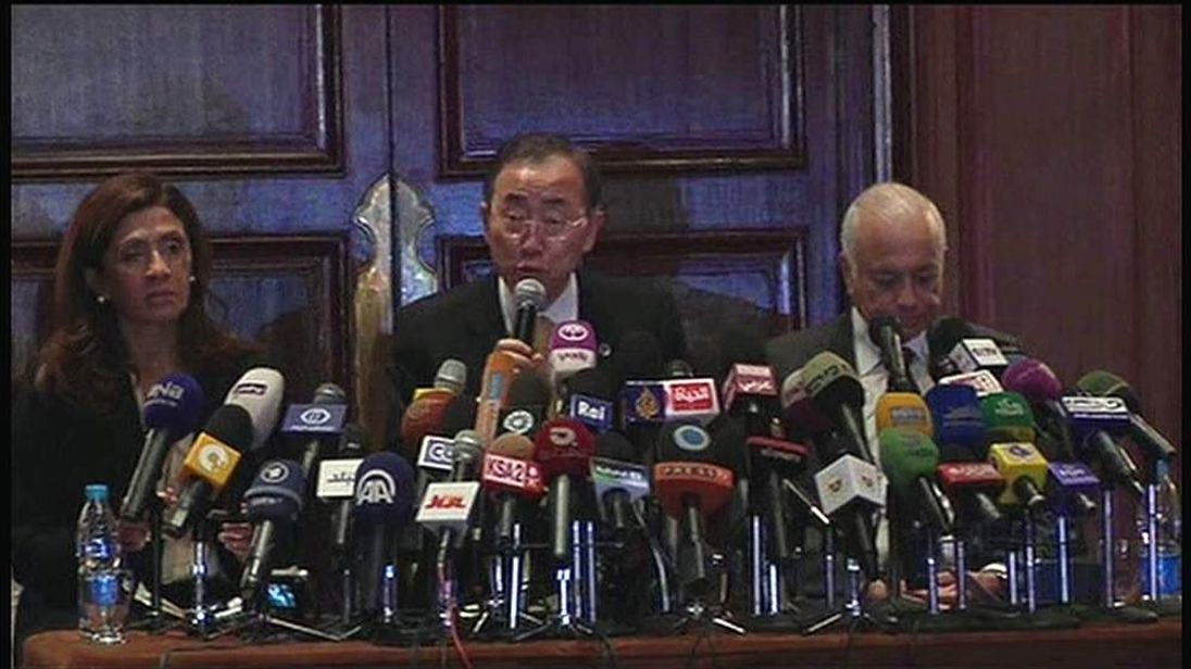 Ban-Ki Moon warns of a ground invastion while speaking in Egypt