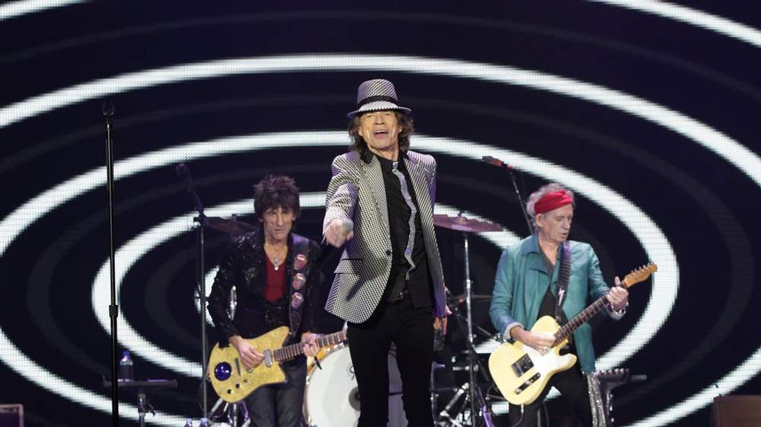 Ronnie Wood, Mick Jagger and Keith Richards of The Rolling Stones performing at the O2 Arena