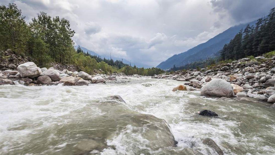 Beas river in Manali, north India.