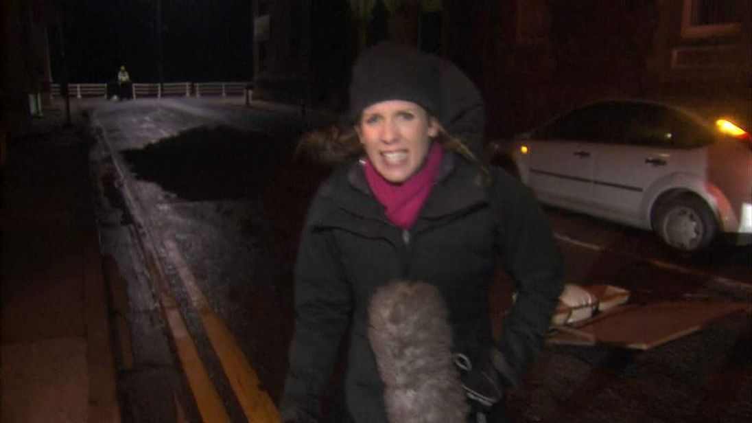 Sky's Becky Johnson braves the wind in Aberystwyth