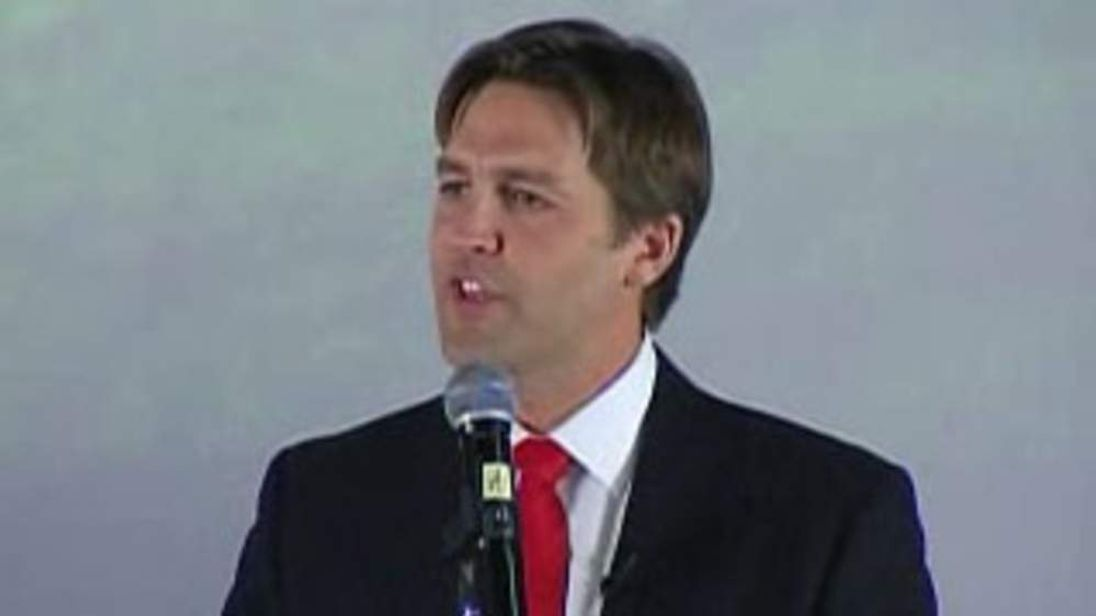 Republican Nebraska Senate nominee Ben Sasse thanks supporters Pic: KOLN-TV